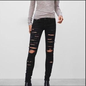 Rag & Bone Skinny Black Thrasher Jean Size 29